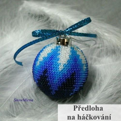 Vánoční háčkovaná baňka VZOR -  odstíny modré