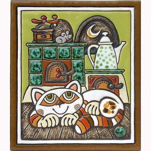 Keramický obrázek - Kočka a pec K-134-Z