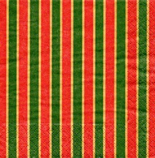 Papírový ubrousek,červené,zelené pruhy,Vánoce,2ks