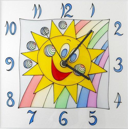 Sluníčko *Cestou duhy - hodiny čtvercové 25cm