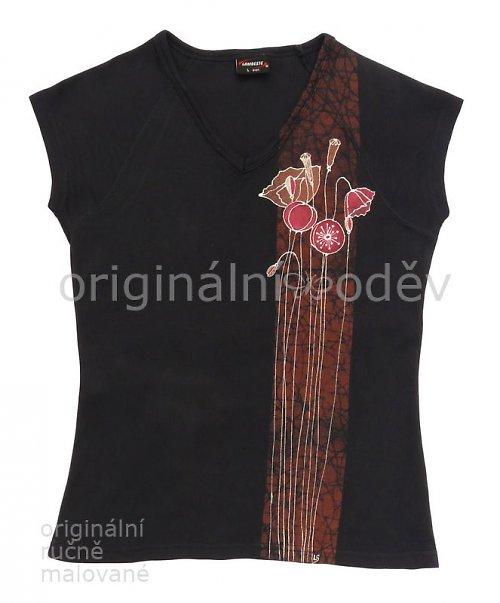 Malované tričko dámské - máky - tmavomodré