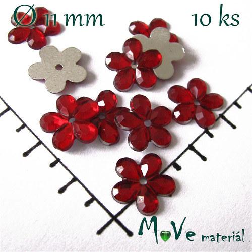 Květina plast Ø11mm našívací  10 ks červená