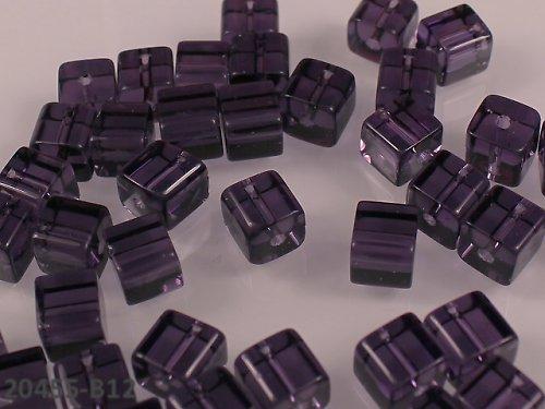 20455-B12 Korálky kostky sklo FIALOVÉ bal.10ks