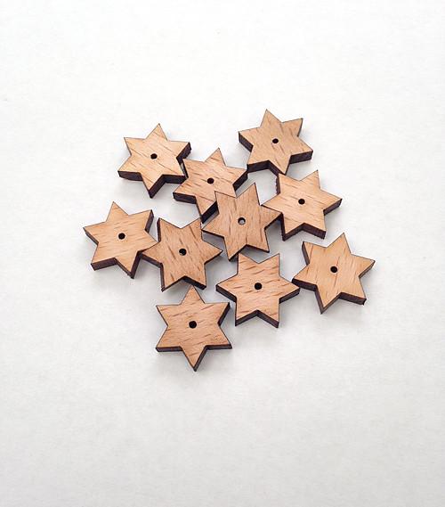 Dřevěné korálky HVĚZDIČKY 6cípé 18mm (10ks)