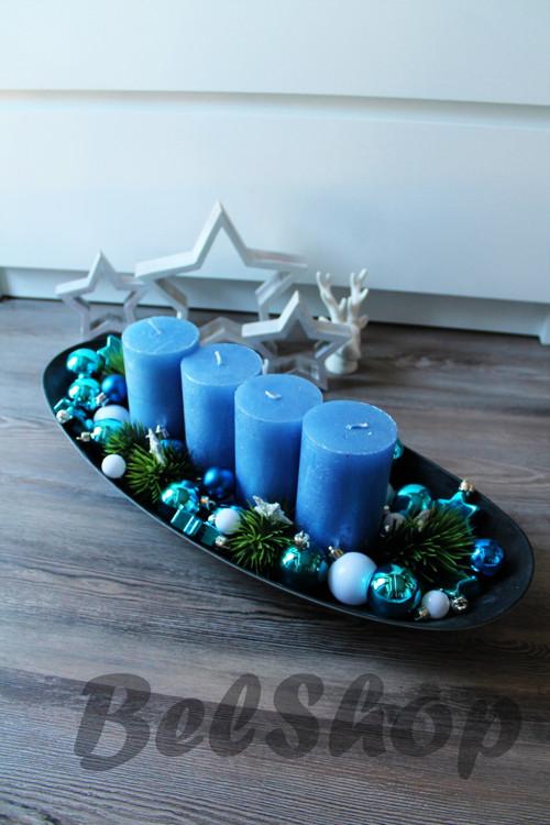 Adventní svícen baňky modré