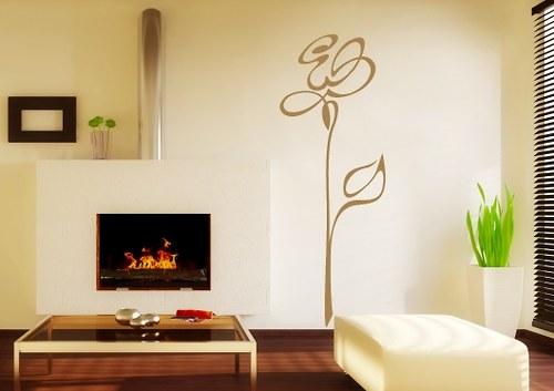 Samolepka na stěnu - Silueta růže (29 x 80 cm)