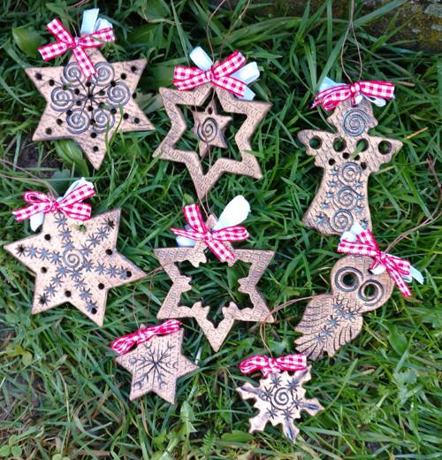 Vánoční ozdoby sada -keramické-přírodní