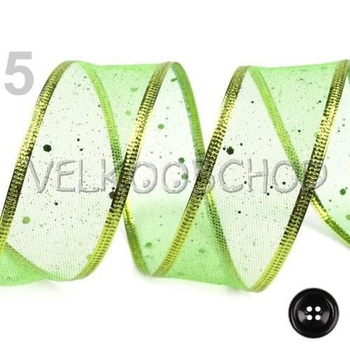 Síťovaná stuha š.40mm s drátem (1m) - lime green