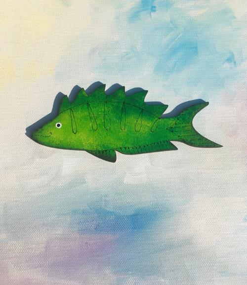Dřevěn magnety - veselá rybička