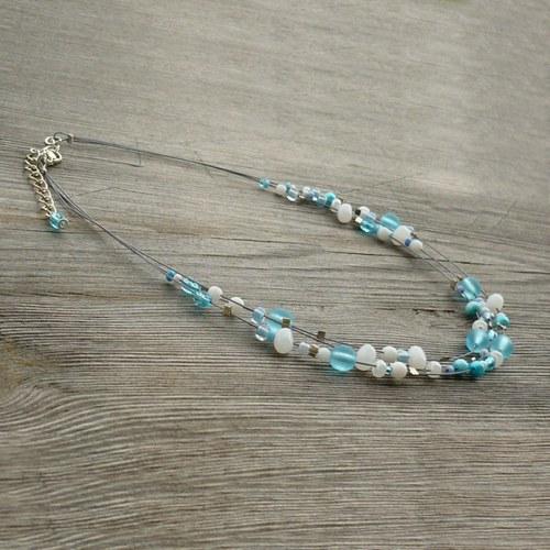 Modrobílý dětský náhrdelník
