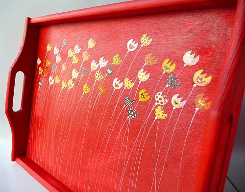 záložní padák velký -červený s tulipány