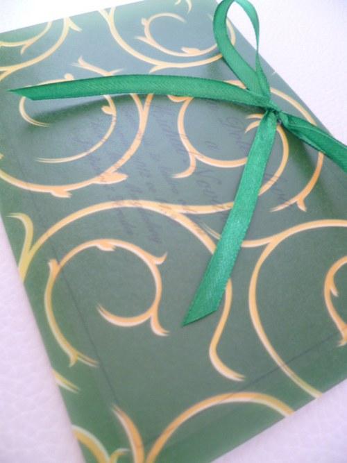 zelené svatební oznámení,pergamenový papír baroko