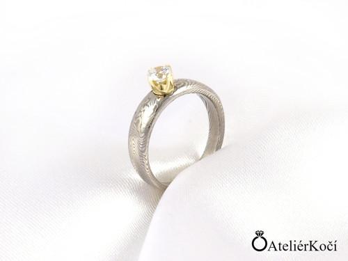 Zásnubní prsten Apollón se zlatým lůžkem