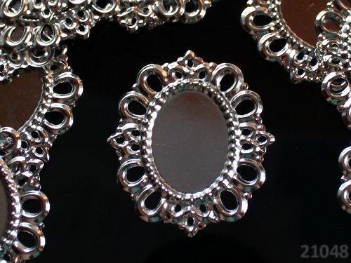 21048 Bižu lůžko oválné stříbrné 43/38,  á 1ks