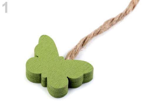 Dřevěný motýl - zelená (4ks)