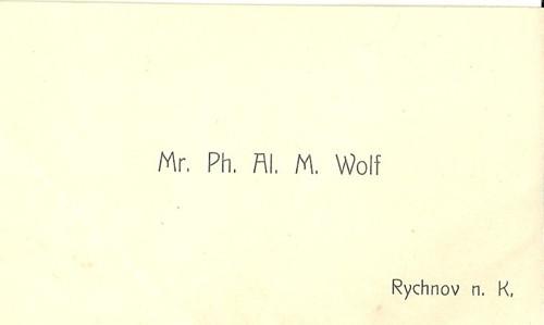 Vizitka Mr. Ph. Al. M. Wolf Rychnov