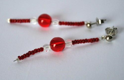 Náušnice - červená růžičko...