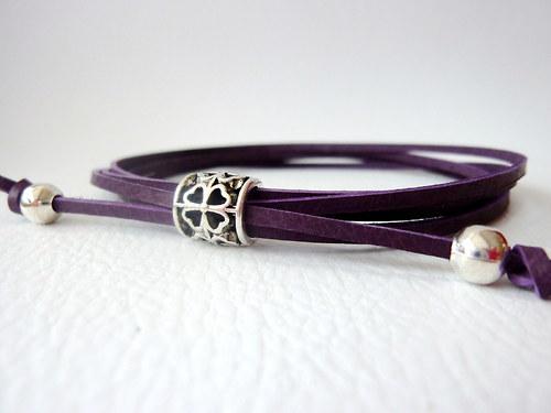 Náramek Kožený fialový