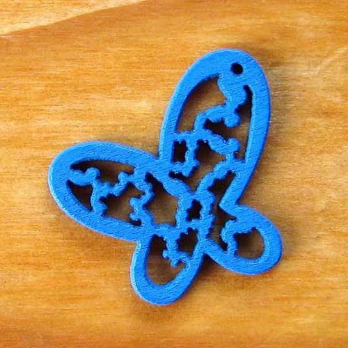 Dřevěný Motýlek - Modrý