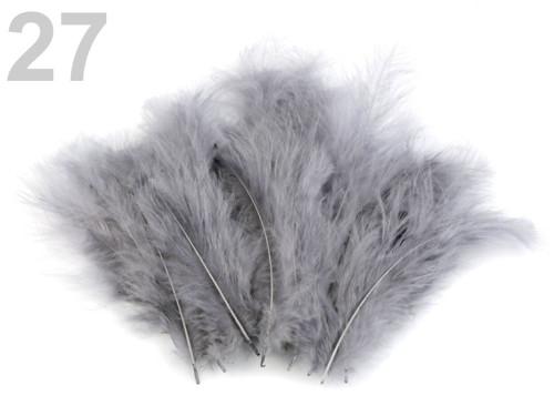 Pštrosí peří d.12-17 cm - šedá