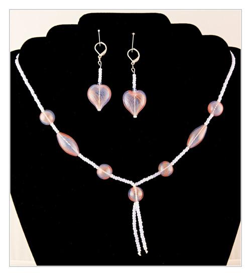 Souprava náhrdelník a náušnice - srdíčka