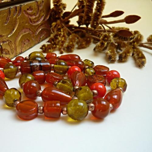 Dlouhý náhrdelník z vinutek Podzimní nálada