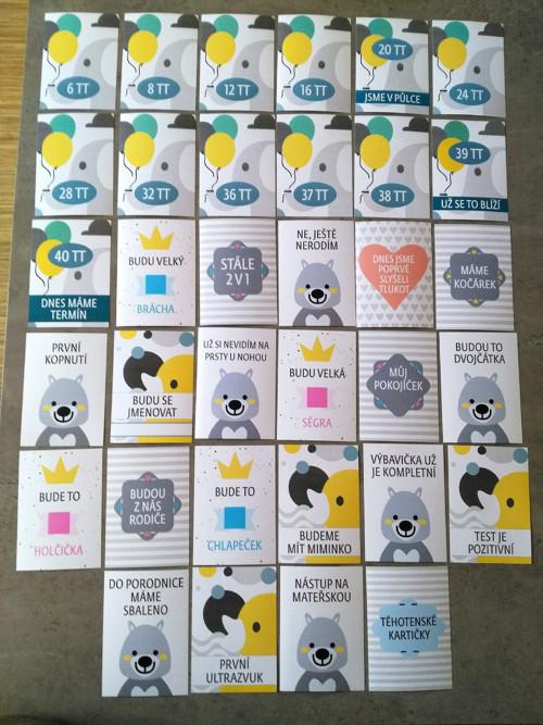 Těhotenské milníkové kartičky - 33 ks