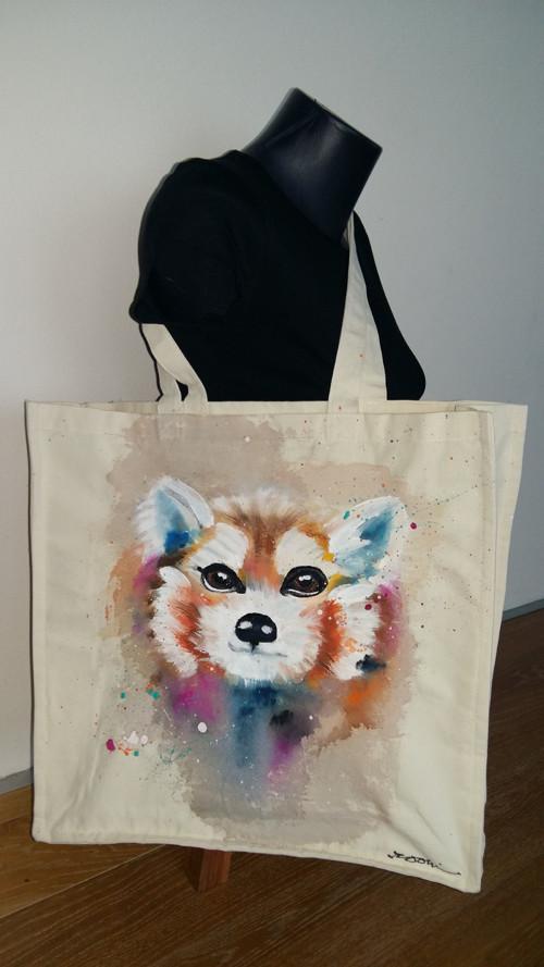 taška nákupka panda červená