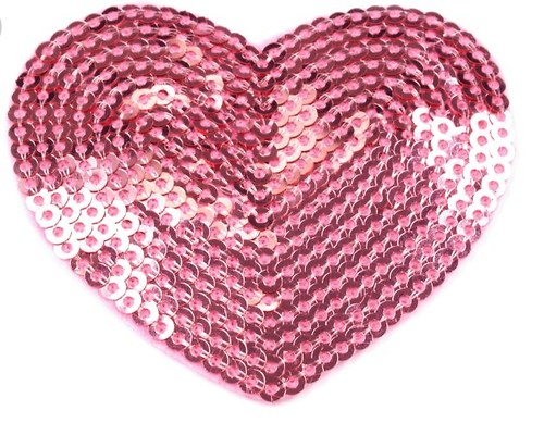 Nažehlovačka - HEART s flitry růžová