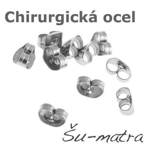 Náušnicové zarážky z chir. oceli,3,5x5,5mm (10 ks)
