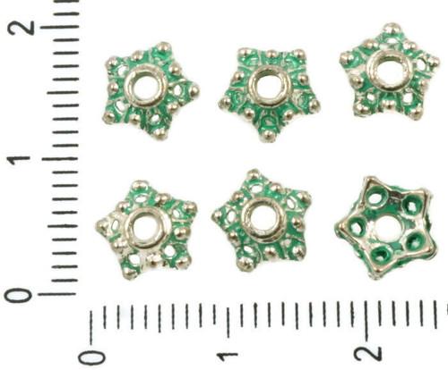 40pcs Antique Silver Tón Tyrkysová Zelená Patina U