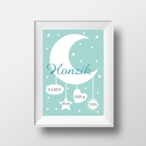 Plakát narození miminka - měsíc pro kluky