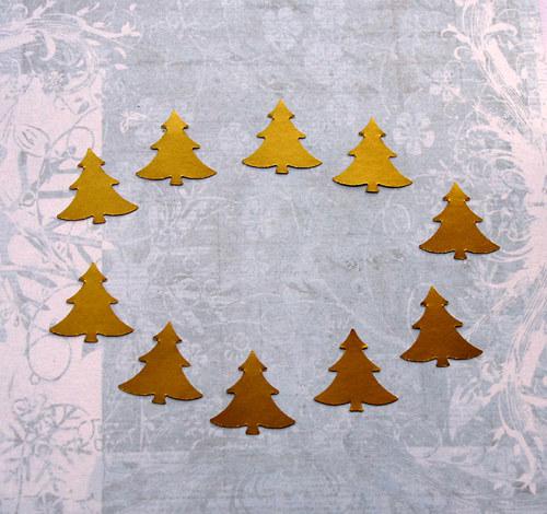 Mini stromečky zlaté - 10 ks