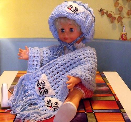 Dětská čepice a šál v modrém