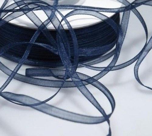 stuha šifónová 3mm modrá tmavá - 6m