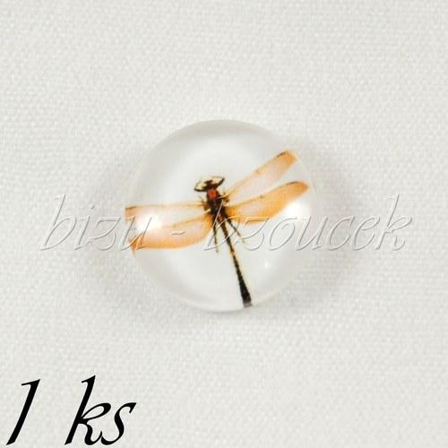 Skleněný kabošon vážka - 1ks, 12 mm