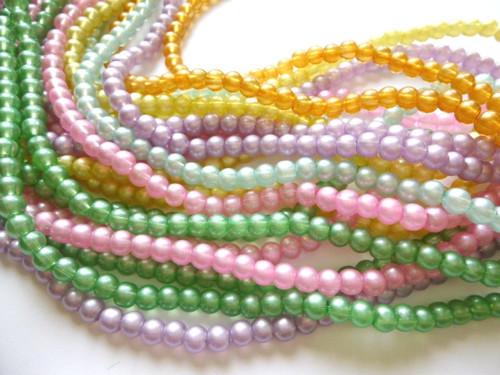Skleněné korálky perleťové mix barev 6mm/30 ks