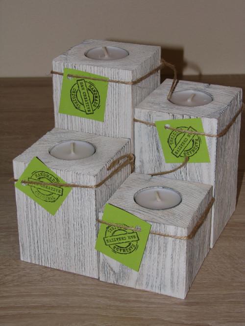 4-dílný svícen na čajové svíčky ve stylu Provance