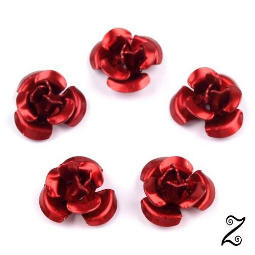 Kovová růžička, červená lesklá, 12 mm (10ks)