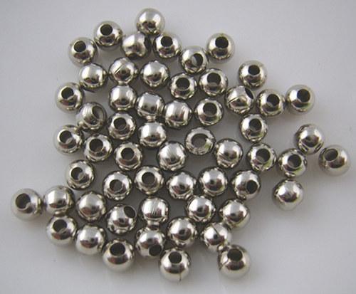 kovový korálek platina/ 4mm/ 50ks