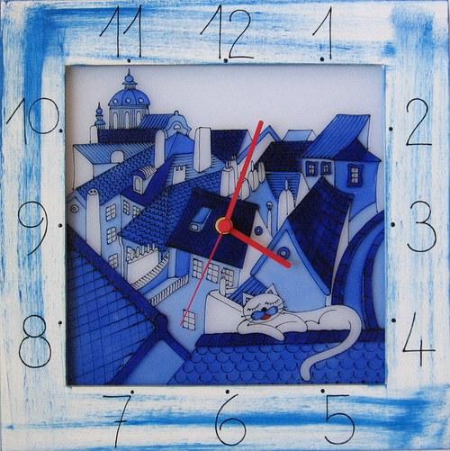 Střechy s kočkou - hodiny v rámu 34cm