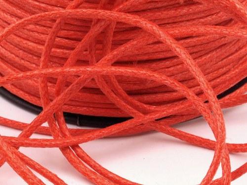 Šňůra voskovaná 1,5mm - červenooranžová (5m)