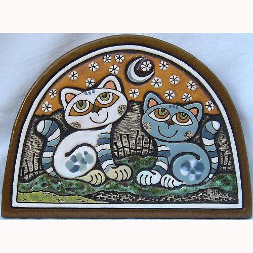 Keramický obrázek - Kočky v lunetě K-128-O