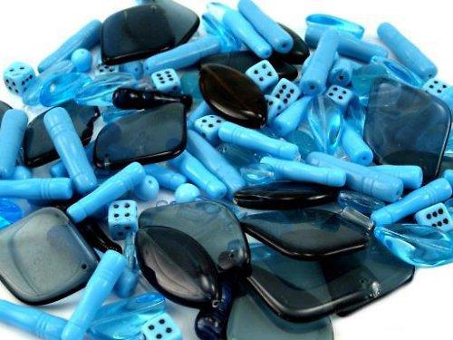 Skleněné korálky - Modrá - mix