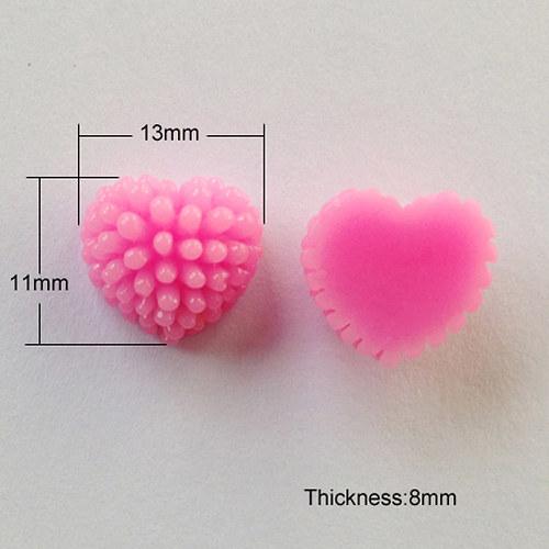 Srdce ježatka/ růžová sytá č. 4/ 13mm/ 10ks