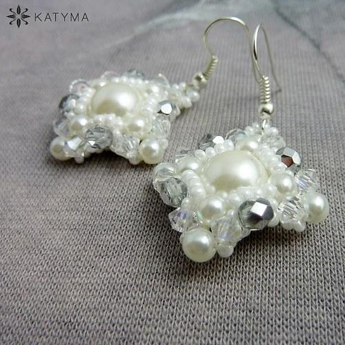 Náušnice čtverečky perlové se stříbrnou