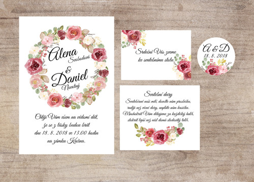 Svatební oznámení včetně zdobené obálky