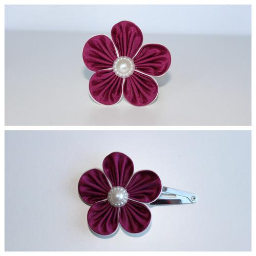 Sponka do vlasů - vínovobéžový květ