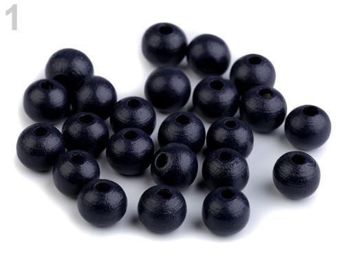 Dřevěné korálky Ø10mm (cca 35ks) - modrá tmavá