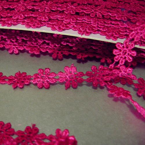 Krajka kytičky růžová š. 10mm